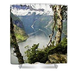 Geiranger Fjord Shower Curtain by Heiko Koehrer-Wagner