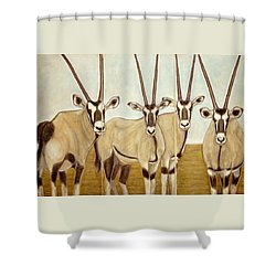 Gemsboks Or 0ryxs Triptych Shower Curtain by Isabelle Ehly
