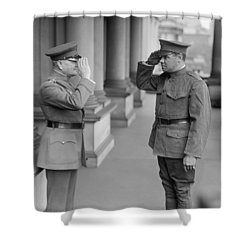 General John Pershing Saluting Babe Ruth Shower Curtain by War Is Hell Store