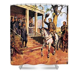 General Lee And His Horse 'traveller' Surrenders To General Grant By Mcconnell Shower Curtain by James Edwin