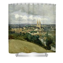 General View Of The Town Of Saint Lo Shower Curtain by Jean Corot