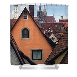 German Rooftops Shower Curtain by Sharon Foster