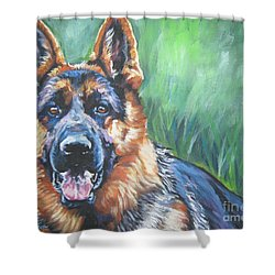 German Shepherd Shower Curtain by Lee Ann Shepard
