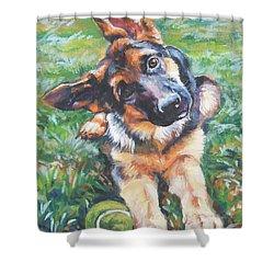 German Shepherd Pup With Ball Shower Curtain by Lee Ann Shepard
