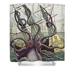 Giant Octopus Shower Curtain by Denys Montfort