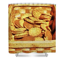 Ginger Snap Cookies In Basket Shower Curtain by Susan Savad
