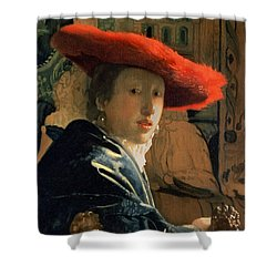 Girl With A Red Hat Shower Curtain by Jan Vermeer