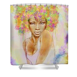 Girl With New Hair Style Shower Curtain by Lilia D