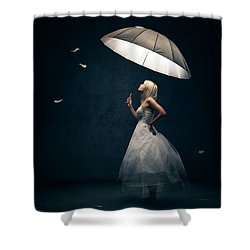 Girl With Umbrella And Falling Feathers Shower Curtain by Johan Swanepoel