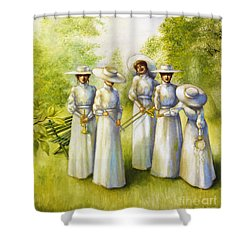 Girls In The Band Shower Curtain by Jane Whiting Chrzanoska