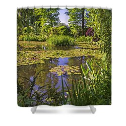 Giverny France - Claude Monet's Pond  Shower Curtain by Allen Sheffield