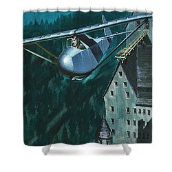 Glider Escape From Colditz Castle Shower Curtain by Wilf Hardy