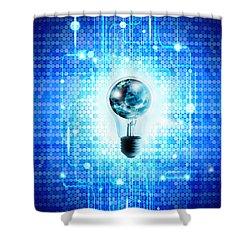 Globe And Light Bulb With Technology Background Shower Curtain by Setsiri Silapasuwanchai