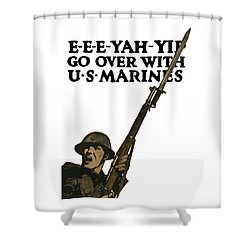 Go Over With Us Marines Shower Curtain by War Is Hell Store