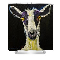 Goat Gloat Shower Curtain by Diane Whitehead