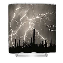 God Bless America Bw Lightning Storm In The Usa Desert Shower Curtain by James BO  Insogna