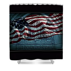 God Country Notre Dame American Flag Shower Curtain by John Stephens