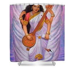 Goddess Saraswati Shower Curtain by Sue Halstenberg