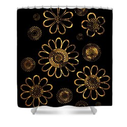 Golden Flowers Shower Curtain by Frank Tschakert