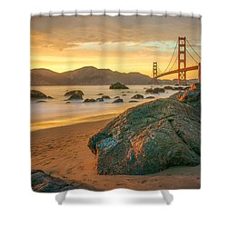 Golden Gate Sunset Shower Curtain by James Udall