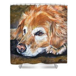 Golden Retriever Senior Shower Curtain by Lee Ann Shepard