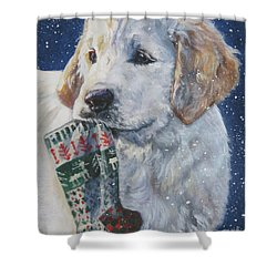 Golden Retriever With Xmas Stocking Shower Curtain by Lee Ann Shepard