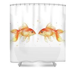 Goldfish Love Watercolor Shower Curtain by Olga Shvartsur