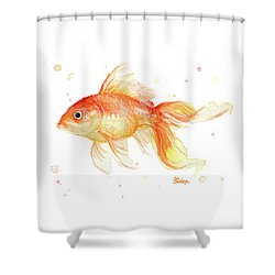 Goldfish Painting Watercolor Shower Curtain by Olga Shvartsur