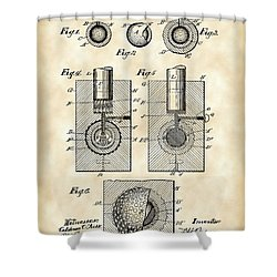 Golf Ball Patent 1902 - Vintage Shower Curtain by Stephen Younts