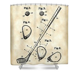 Golf Club Patent 1909 - Vintage Shower Curtain by Stephen Younts
