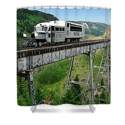 Goose On Cascade Trestle Shower Curtain by Ken Smith