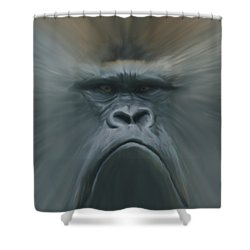 Gorilla Freehand Abstract Shower Curtain by Ernie Echols