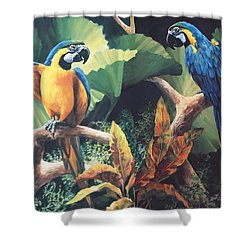 Gossips Shower Curtain by Laurie Hein