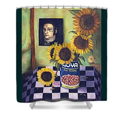 Goyas With Lettering Shower Curtain by Leah Saulnier The Painting Maniac