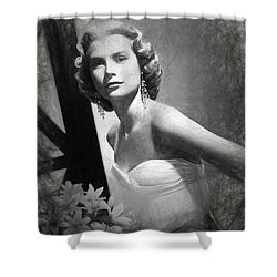 Grace Kelly Drawing Shower Curtain by Quim Abella