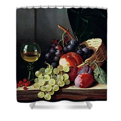 Grapes And Plums Shower Curtain by Edward Ladell