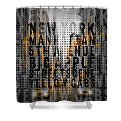 Graphic Art Nyc 5th Avenue Yellow Cabs - Typography And Splashes Shower Curtain by Melanie Viola