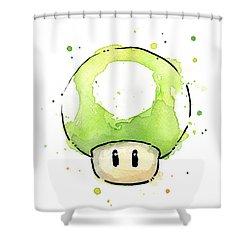 Green 1up Mushroom Shower Curtain by Olga Shvartsur