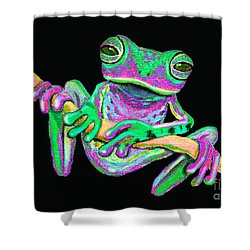 Green And Pink Frog Shower Curtain by Nick Gustafson