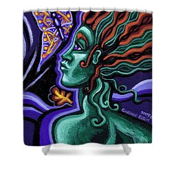 Green Goddess With Butterfly Shower Curtain by Genevieve Esson