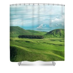 Green Hills On The Big Island Of Hawaii Shower Curtain by Larry Marshall