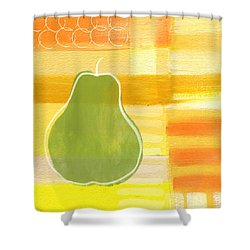 Green Pear- Art By Linda Woods Shower Curtain by Linda Woods