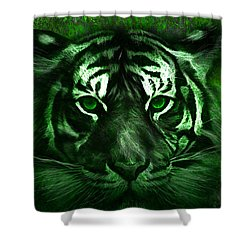 Green Tiger Shower Curtain by Michael Cleere