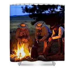 Group Of Cowboys Around A Campfire Shower Curtain by Richard Wear