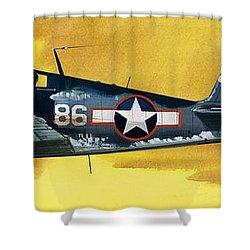 Grumman F6f-3 Hellcat Shower Curtain by Wilf Hardy