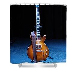 Guitar Blue Shower Curtain by Lauri Novak