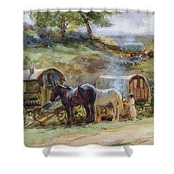 Gypsy Encampment Shower Curtain by John Atkinson