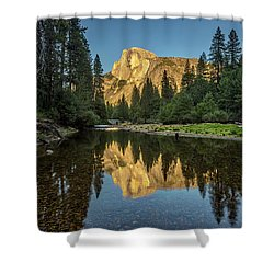 Half Dome From  The Merced Shower Curtain by Peter Tellone