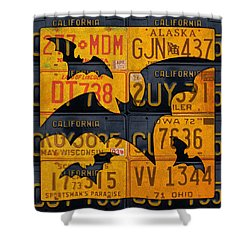 Halloween Bats Recycled Vintage License Plate Art Shower Curtain by Design Turnpike