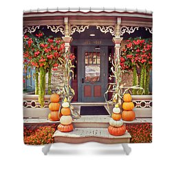 Halloween In A Small Town Shower Curtain by Mary Machare